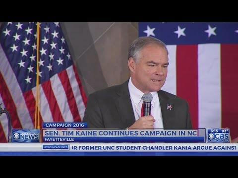 Democratic VP nominee Kaine speaks in Fayetteville about military