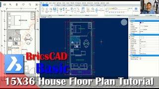 15x36 House Floor Plan Tutorial With BricsCAD
