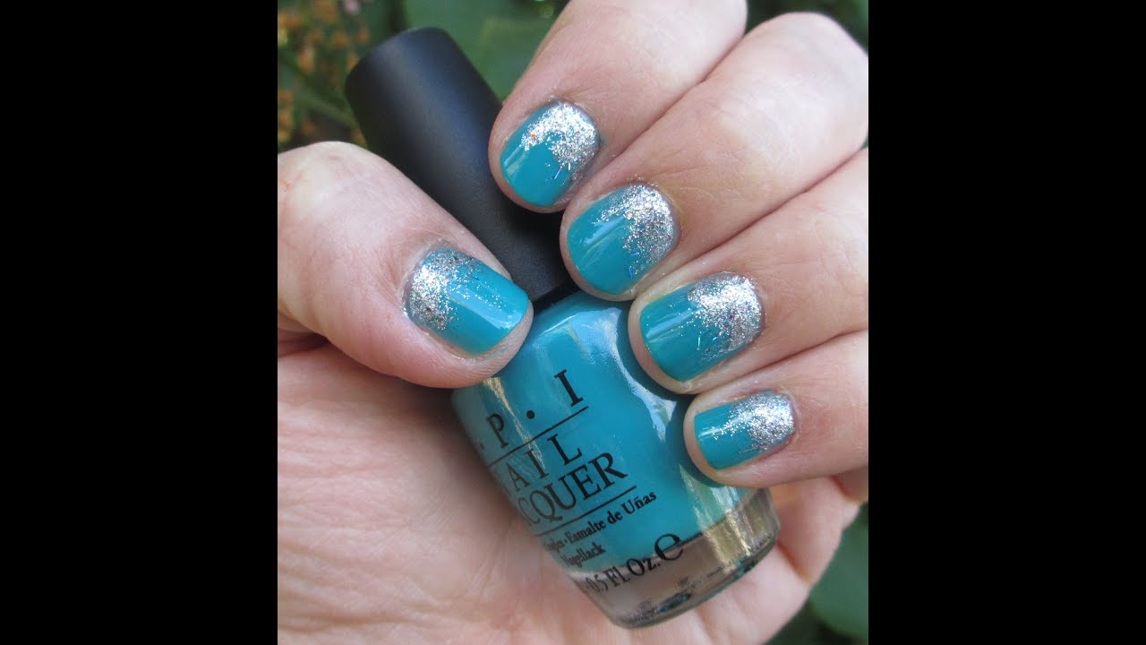 Teal And Silver Reverse Glitter Gradient Nails Youtube