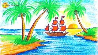 Vẽ tranh Hoàng hôn trên đảo