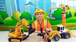 Даник Строитель и ЭКСКАВАТОР на пульте управлении - Строительные и Рабочие машинки для детей