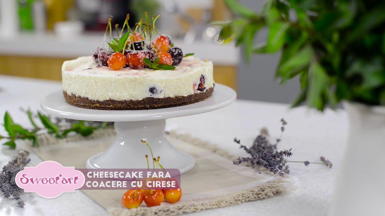 Reteta - Cheesecake fara coacere cu cirese