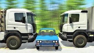 страшные аварии с грузовиками! Вывозим металлолом - BeamNG Drive