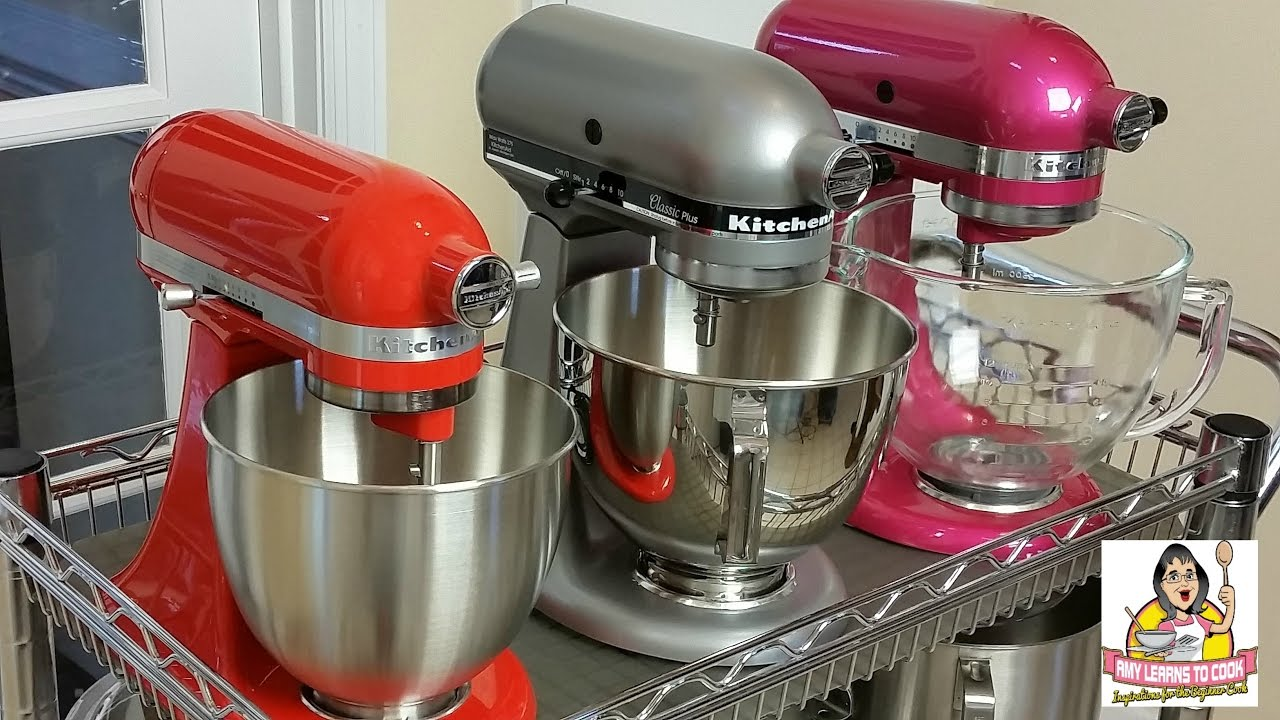 KitchenAid Tilt Head Stand Mixer Comparison ~ Artisan Vs. Classic Plus Vs.  Mini   YouTube