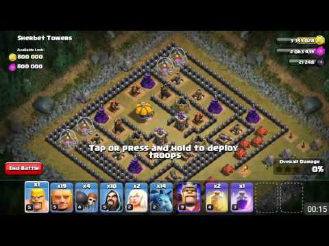Clash Of Clans - Sherbet Towers [lv 50] With TH8 Troops!!!