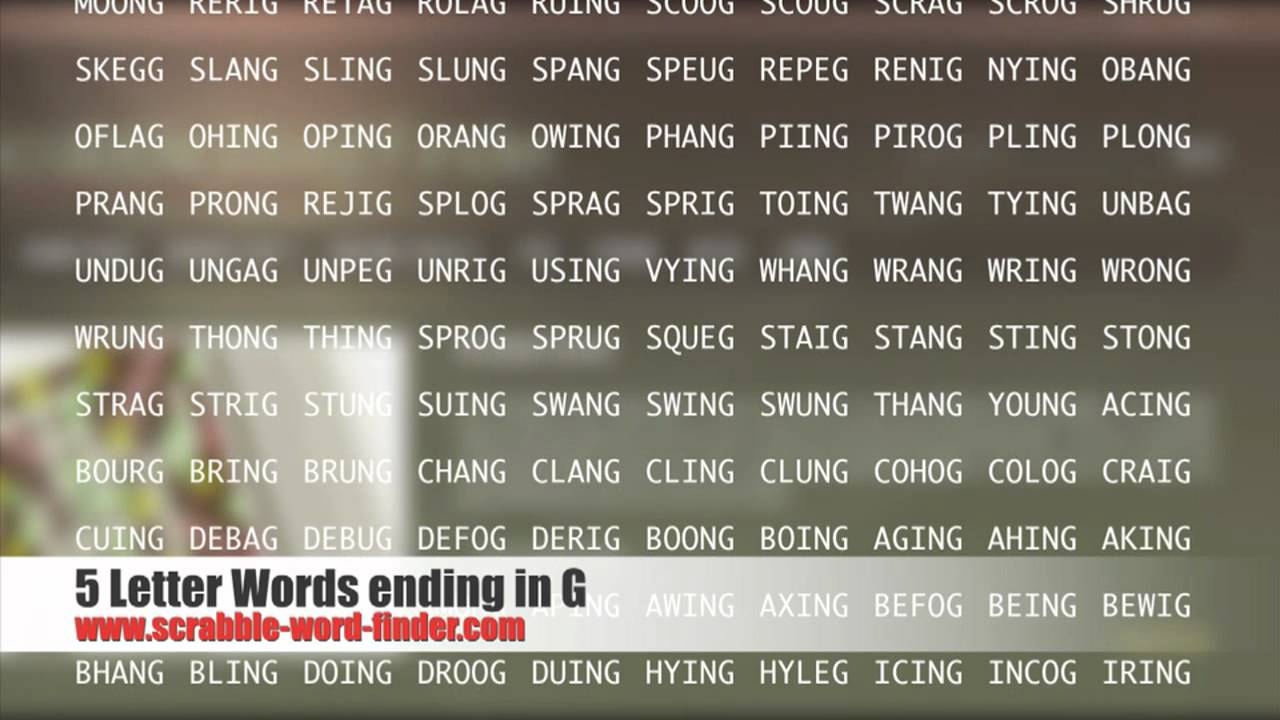 5 letter words ending in G   YouTube