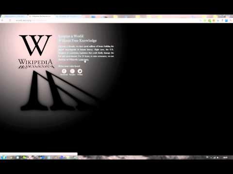 Wikipedia 24h BLACKOUT 2012 PROTESTING SOPA & PIPA American Censorship Laws!