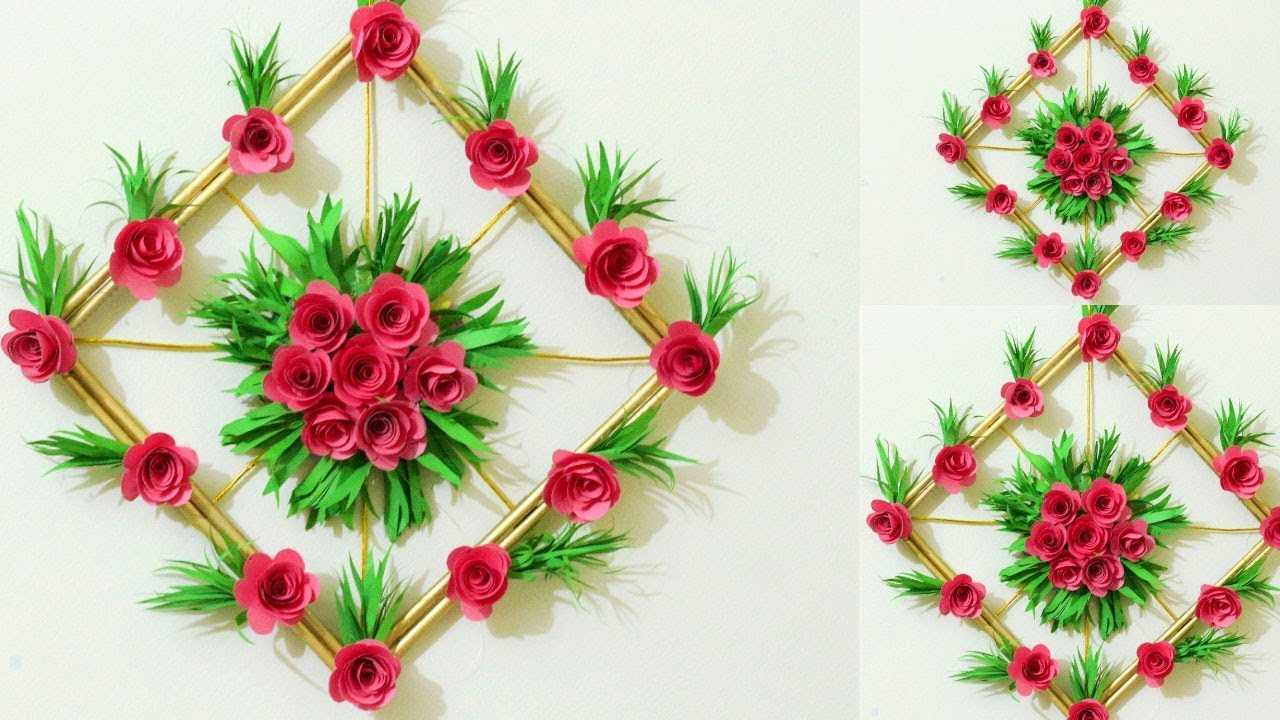 Diy Simple Home Decor Paper Flower Wall Decorations Easy Wall