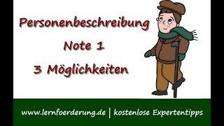 Personenbeschreibung muster Personenbeschreibung Grundschule: