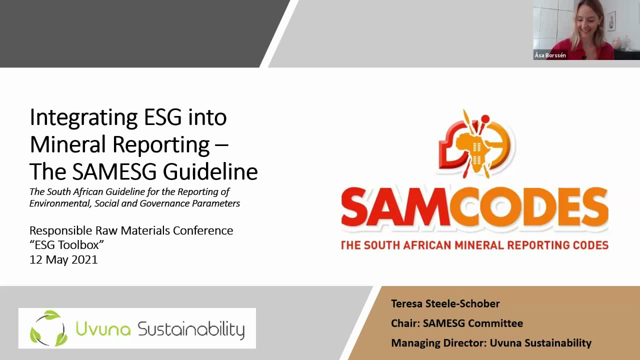 Teresa Steele-Schober – Guiding ESG integration to mineral resource reporting – the SAMESG Guideline