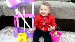 Baby Andrei helps Mommy! Kids Pretend Play with Cleaning Toys!