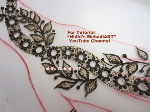 Beautiful Flower And Leaves Strip Henna Mehndi Design Tutorial For