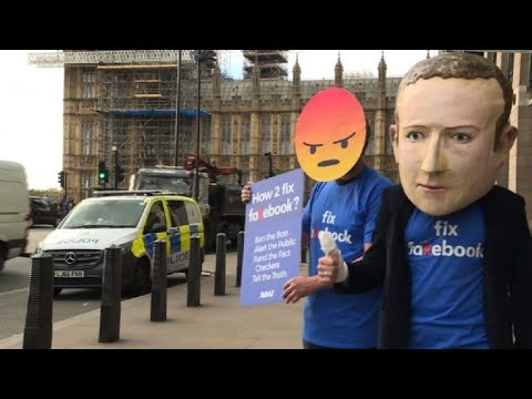 Anti-Facebook protest in London before CTO's grilling by MPs