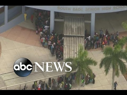 Long lines for hurricane shelters in Florida