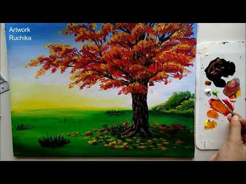 A Simple Tree Painting | Acrylic Painting Tutorial