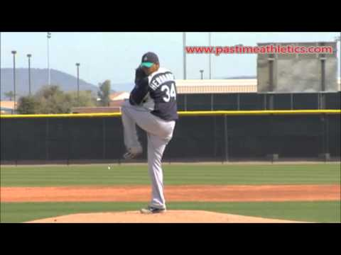 Felix Hernandez Slow Motion Baseball Pitching Mechanics - Mariners Pitcher Tips Drills MLB
