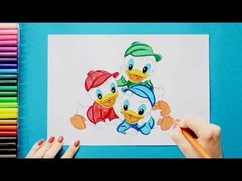 How to draw and color Huey, Dewey and Louie Duck - Duck Tales