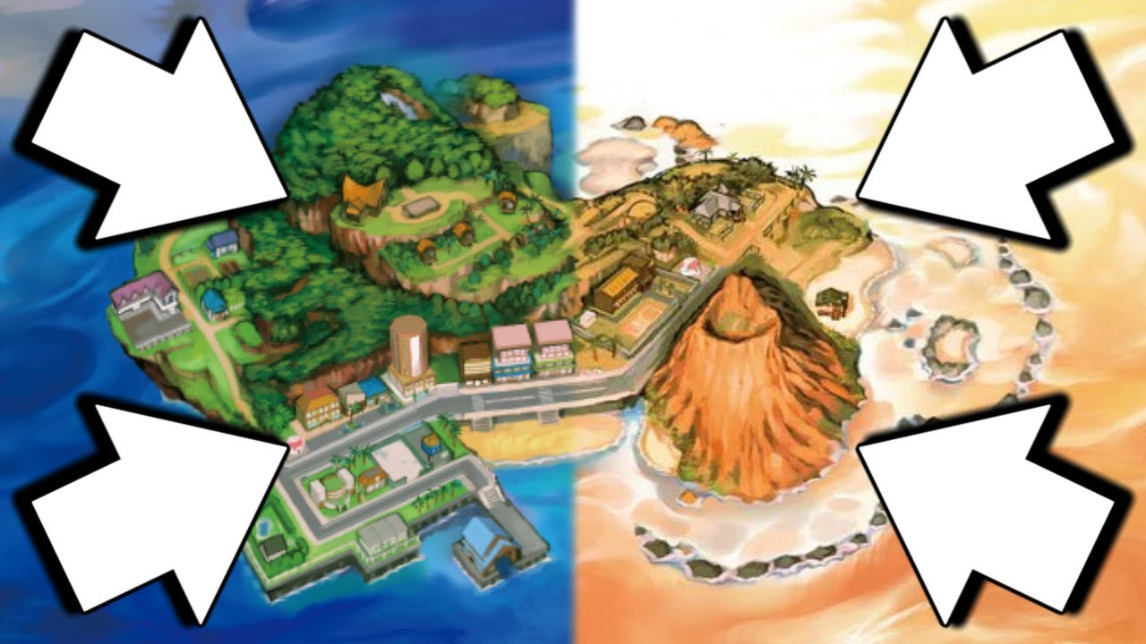 pokemon ultra sun and ultra moon map parison new areas and