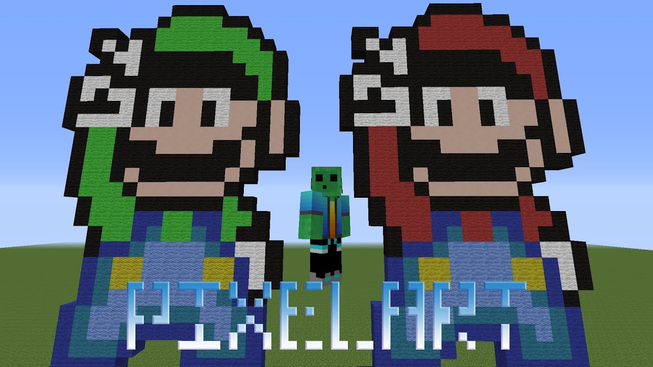 Minecraft How To Build Pixel Mario And Luigi