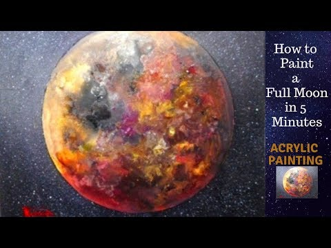 Full Moon Acrylic Painting On Canvas For Beginners