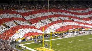 Packers Saints NFL American Flag September 8th, 2011 Lambeau Field Card Stunt Display - Jet Fly-over