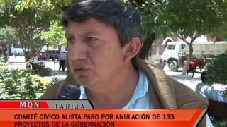 COMITÉ CÍVICO ALISTA PARO POR ACUMULACIÓN DE 133 PROYECTOS DE LA GOBERNACIÓN