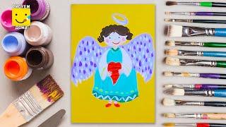 Как нарисовать ангела - урок рисования для детей от 4 лет, гуашь,  рисуем дома поэтапно(Дети рисуют пошагово, ангел, Пасха, гуашь. Подписывайся на Мир Дизайна - https://vk.com/design_is Получи порцию вдохнов..., 2016-04-23T13:21:54.000Z)