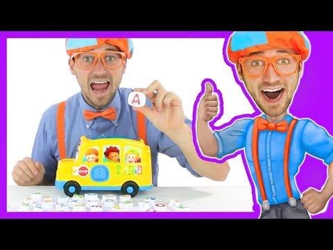 Learn the Alphabet with Blippi Toys | School Bus Song
