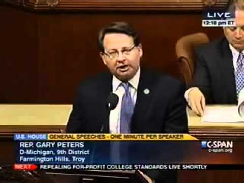Rep. Gary Peters fighting against GOP opposition to women