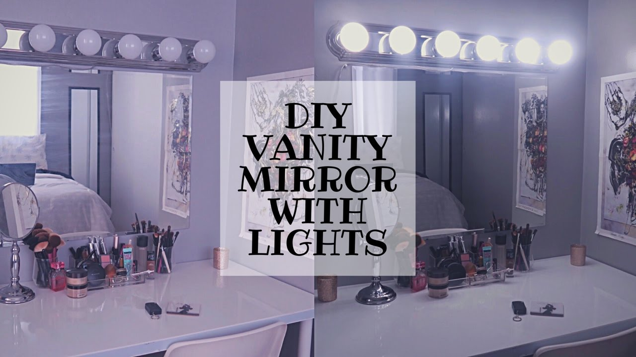 easy diy vanity mirror with lights with remote youtube. Black Bedroom Furniture Sets. Home Design Ideas