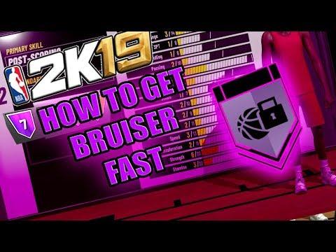 FASTEST WAY TO GET BRUISER BADGE HALL OF FAME - NBA 2K19