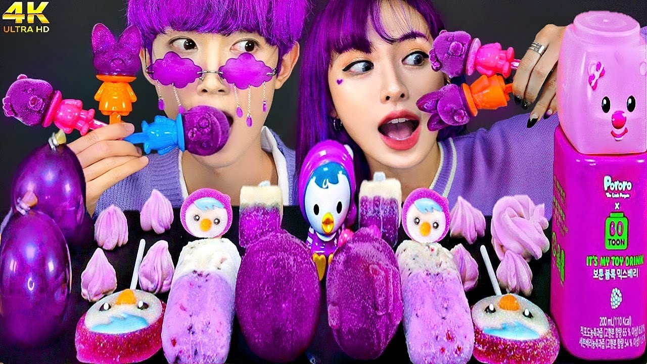 ASMR ICE CREAM PORORO PURPLE PARTY 다양한 뽀로로 퍼플 아이스크림 젤리 먹방 DESSERTS JELLY CANDY MUKBANG EATING SOUNDS