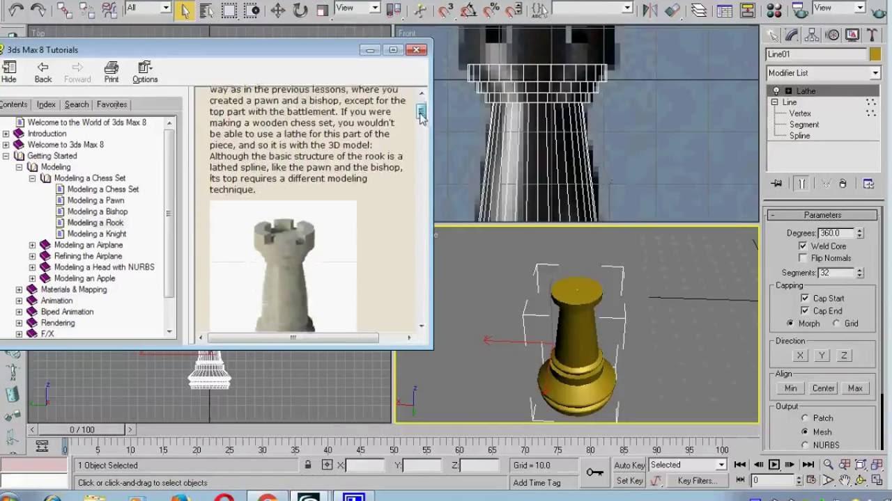 Video Tutorial 3ds Max Basic Modeling Membuat Bidak Catur 3D Rook