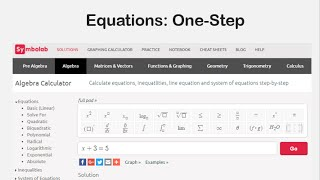 Equations: One Step