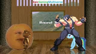 Tedi The Robotic Teddy Bear And Annoying Orange VS Bane And Rainbow Dash In A MUGEN Match / Battle