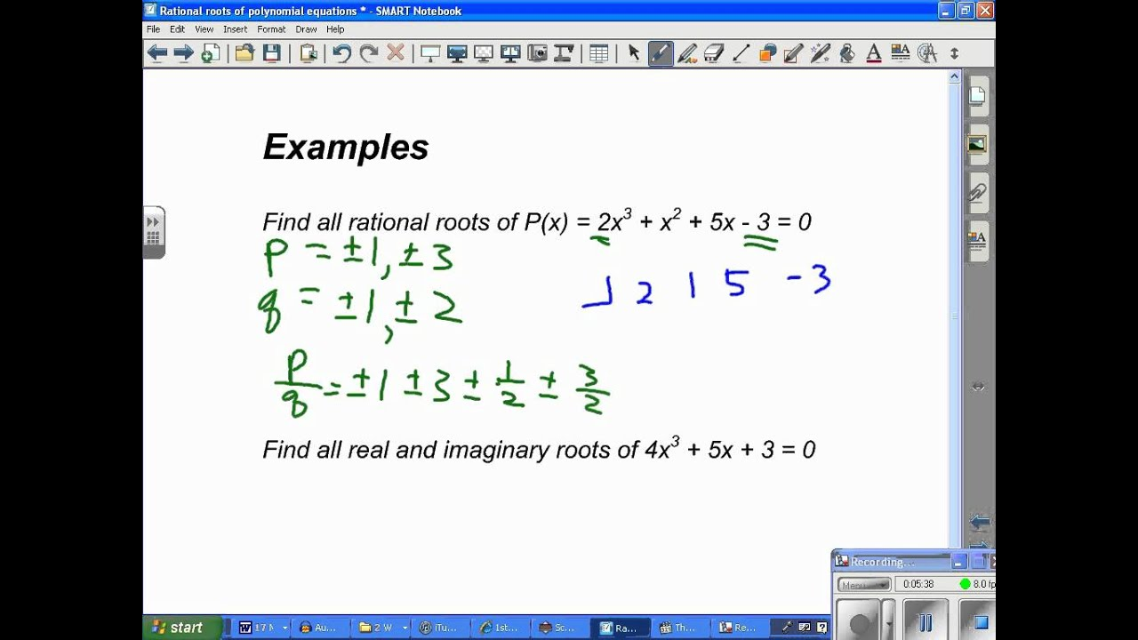 Rational Roots Of Polynomial Equationswmv