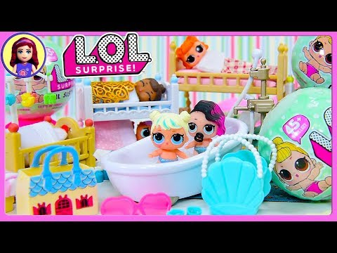LOL Lil Sister Dolls Wave 2 Bath & Bedtime Surprise Blind Ball Bags Unboxing Play