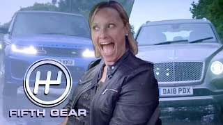 homepage tile video photo for Bentley Bentayga VS Range Rover Sport SVR  - the road test | Fifth Gear