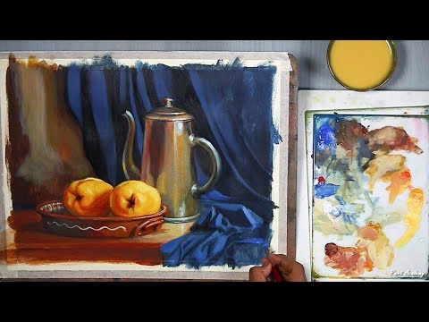 Realistic Still Life in Acrylic   step by step Painting