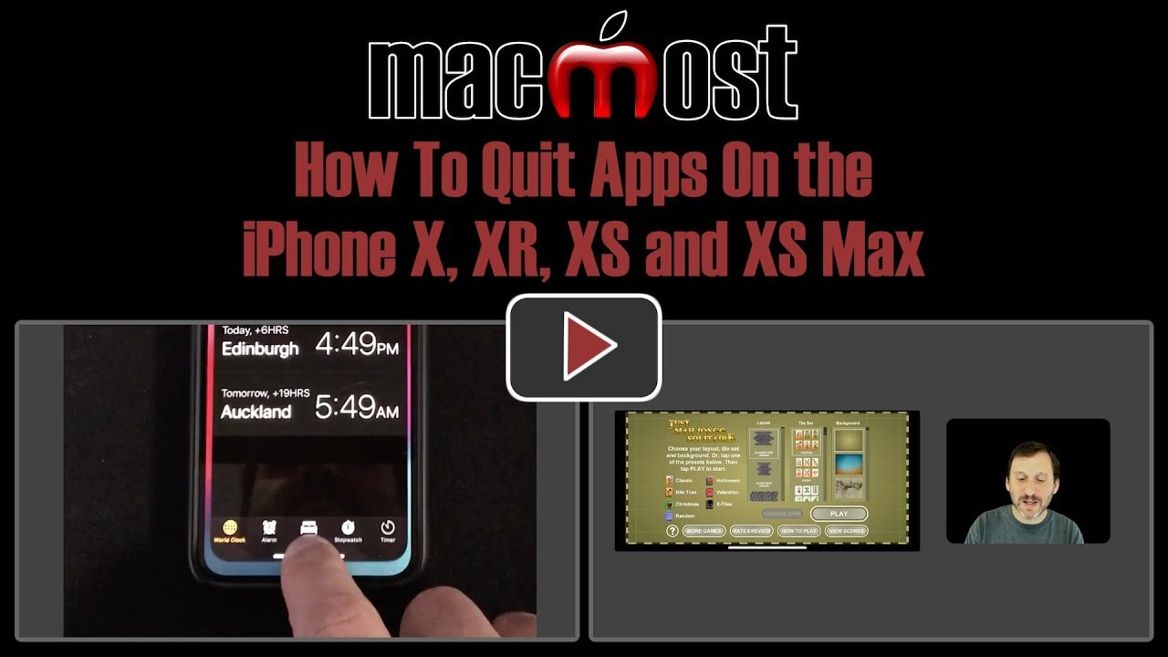 How To Quit Apps On the iPhone X, XR, XS and XS Max (MacMost #1883)