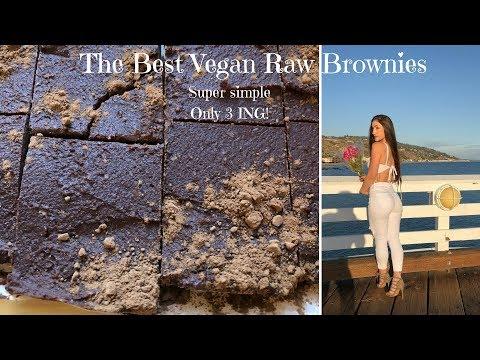 THE BEST RAW VEGAN BROWNIES! ONLY 3 INGREDIENTS! FAST, HEALTHY, EASY!