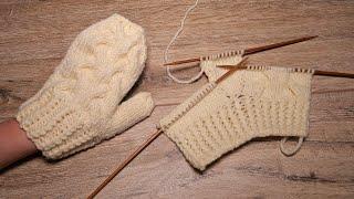 Варежки на двух спицах и без отрыва нити 🎀 Two Needle Mittens Free Knitting Pattern