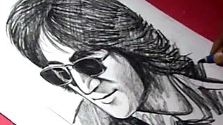 How to Draw English singer and songwriter John Lennon Drawing