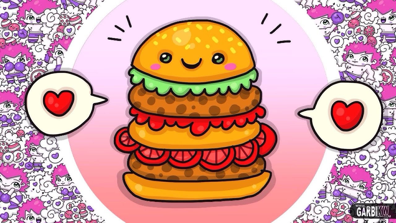 How To Draw Kawaii Hamburger Easy Drawings Hello Kawaii Machine