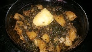 Aloo Palak Kiy Bhujiya/ Potato Spinach ( Cooking With Fouzia )