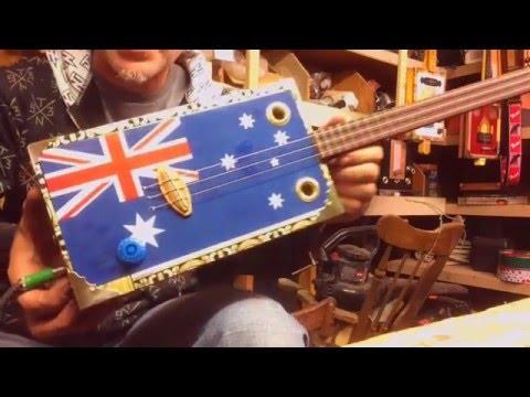 Australian Flag Themed 3 String Cigar Box Guitar