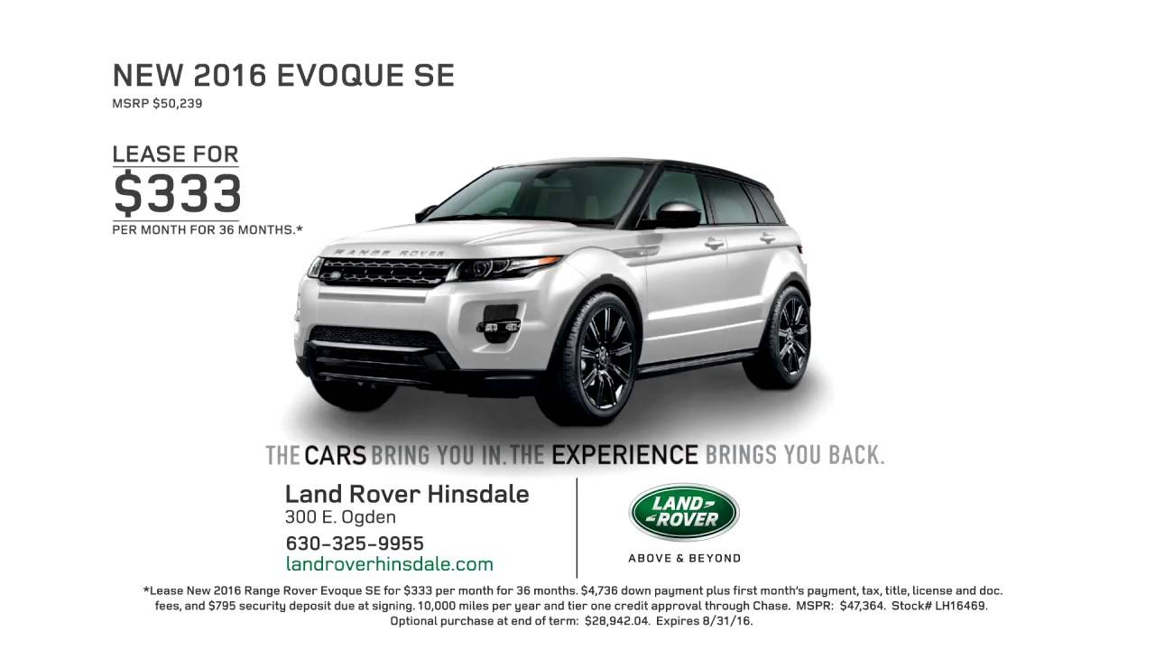 Land Rover Hinsdale >> August 2016 Evoque Lease For 333 At Land Rover Hinsdale Youtube