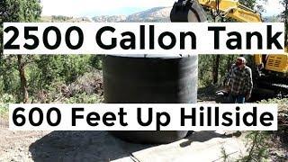 installing-2500-gallon-water-tank-600-feet-up-hill