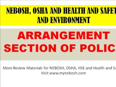 Arrangement Section Of A Health And Safety Policy - Youtube
