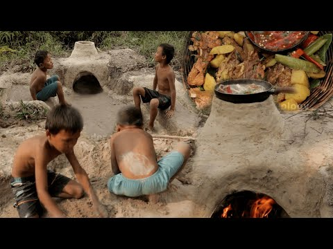 Primitive Technology: Two Little Boys Build sofas, oven and cook pork ribs for food.